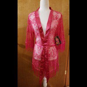 Dreamgirl Fushcia Lace and Fringe Kimono Sz Large